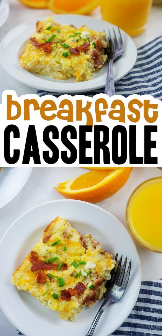 collage of breakfast casserole photos.