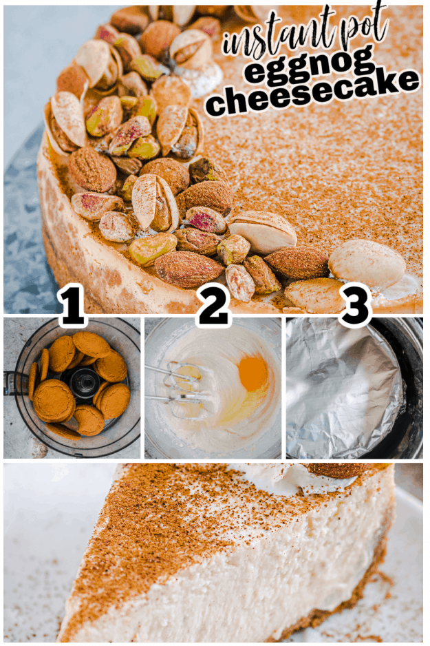how to collage for eggnog cheesecake recipe.