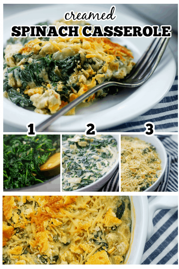 how to collage of making spinach casserole.