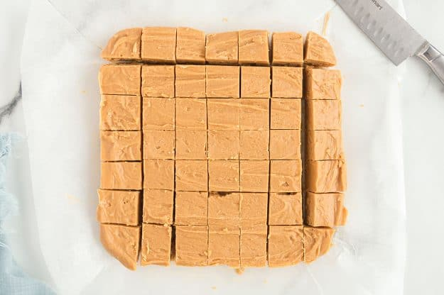 peanut butter fudge sliced into small squares