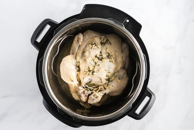Instant Pot with a whole cooked chicken inside.