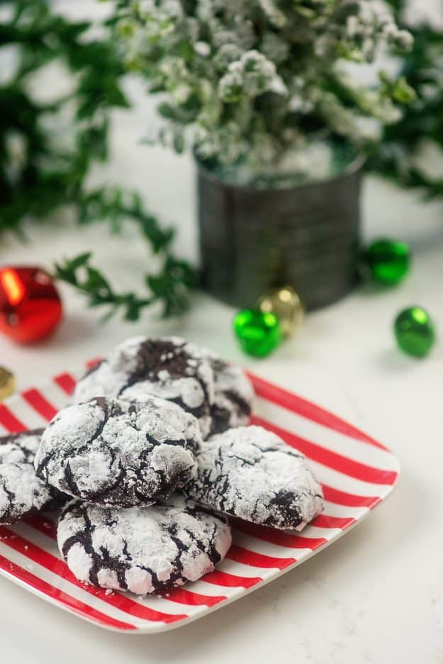 chocolate cookies on Christmas plate.