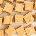 peanut butter fudge recipe cut into squares.
