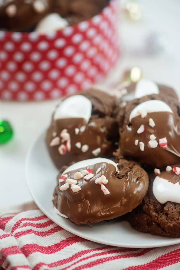 hot chocolate cookies on white plate.
