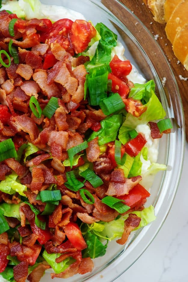 overhead view of BLT dip in pie plate.