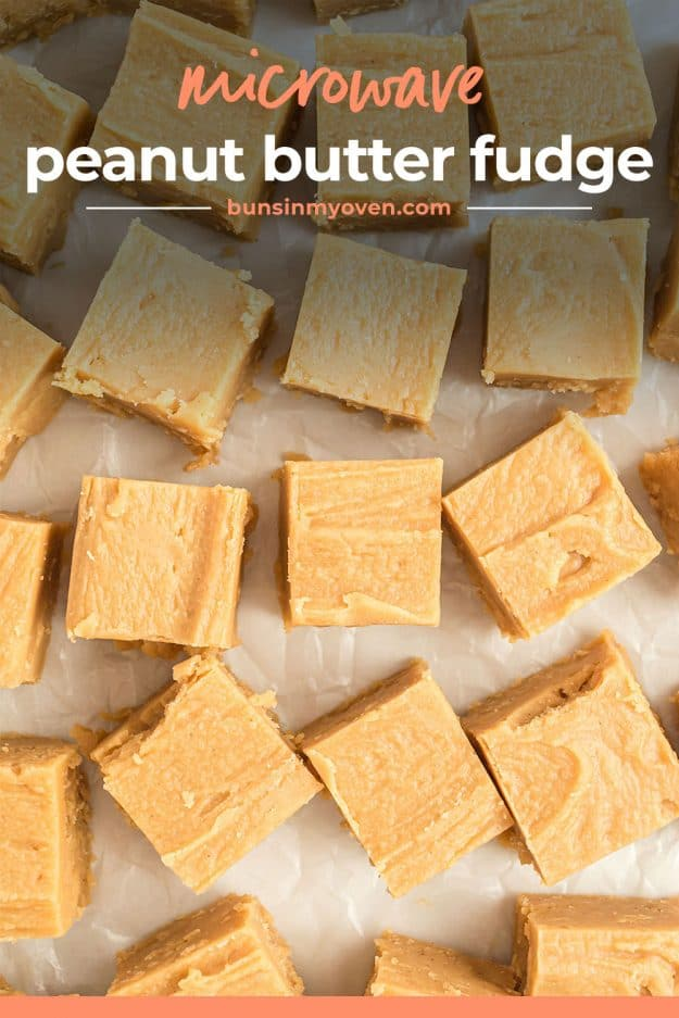 overhead view of fudge cut into squares.