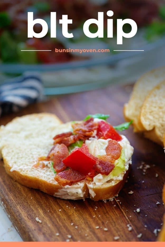 BLT dip on slice of bread.