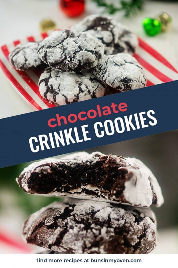 collage of chocolate crinkle cookies.