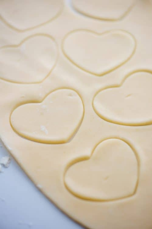 pie crust cut into heart shapes.
