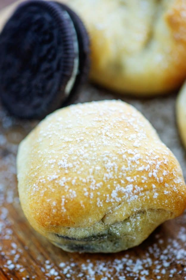 air fried oreo cookie topped with powdered sugar.