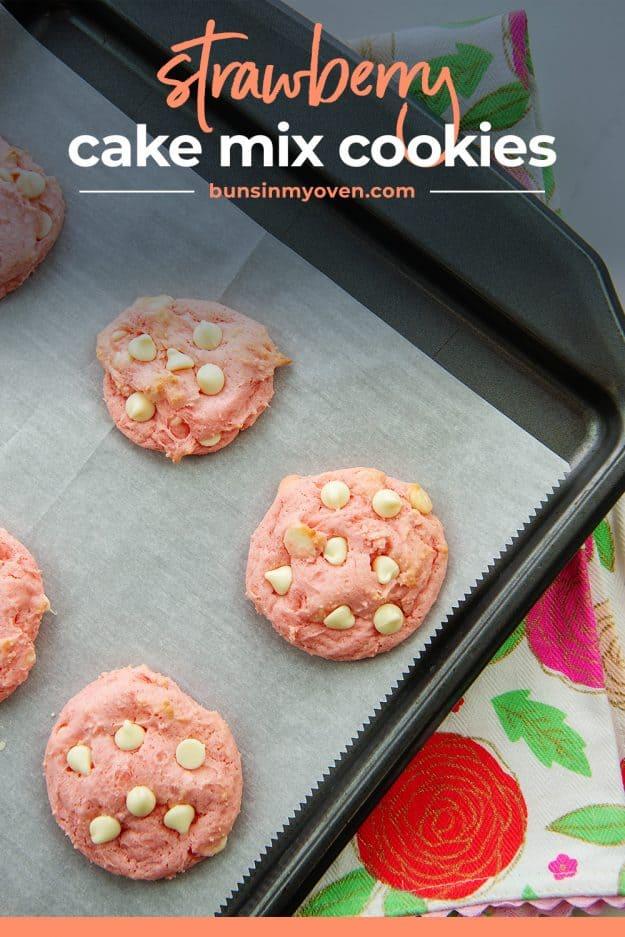 cake mix cookies on sheet pan.