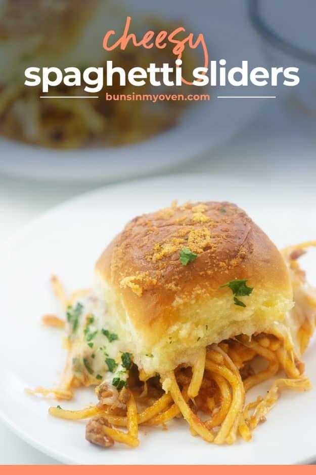 cheesy spaghetti sandwich on white plate.