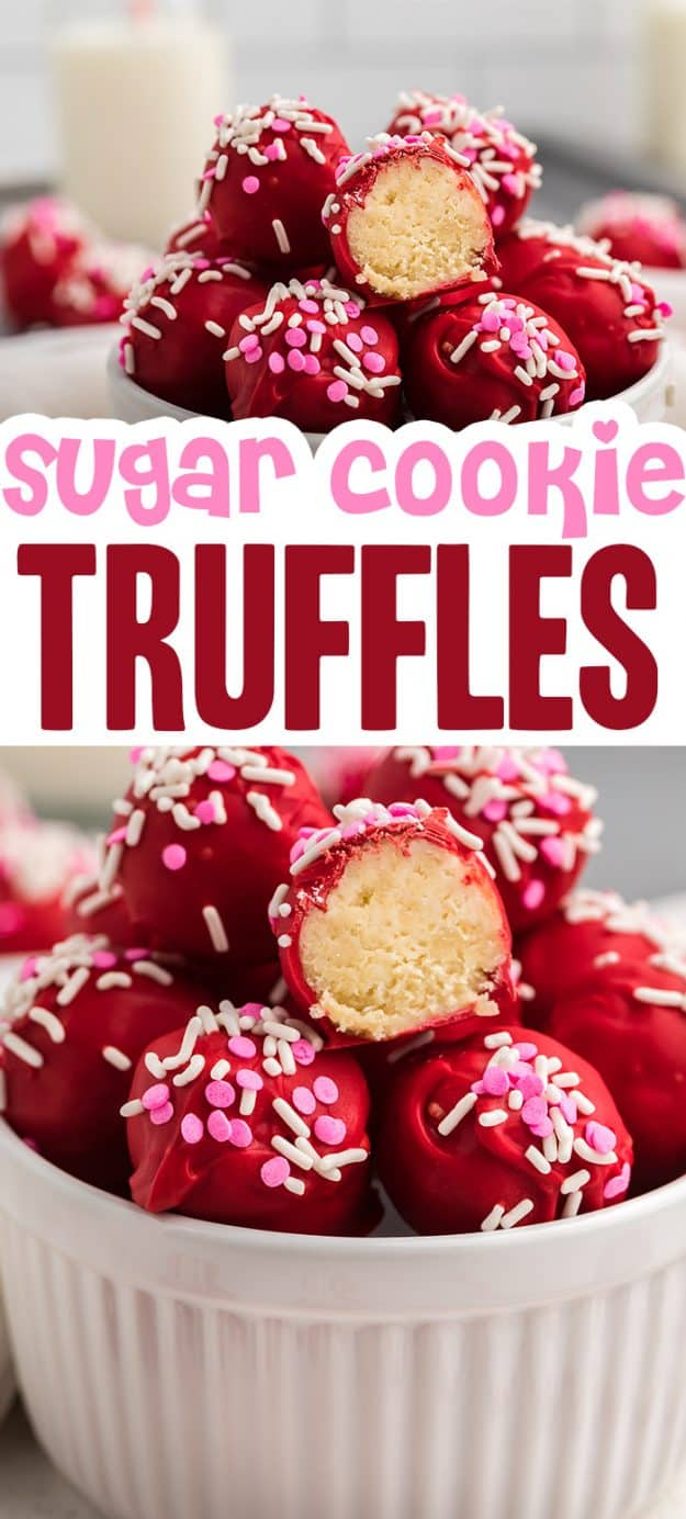 collage of sugar cookie truffles