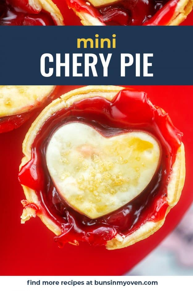 mini cherry pie on red cake stand.