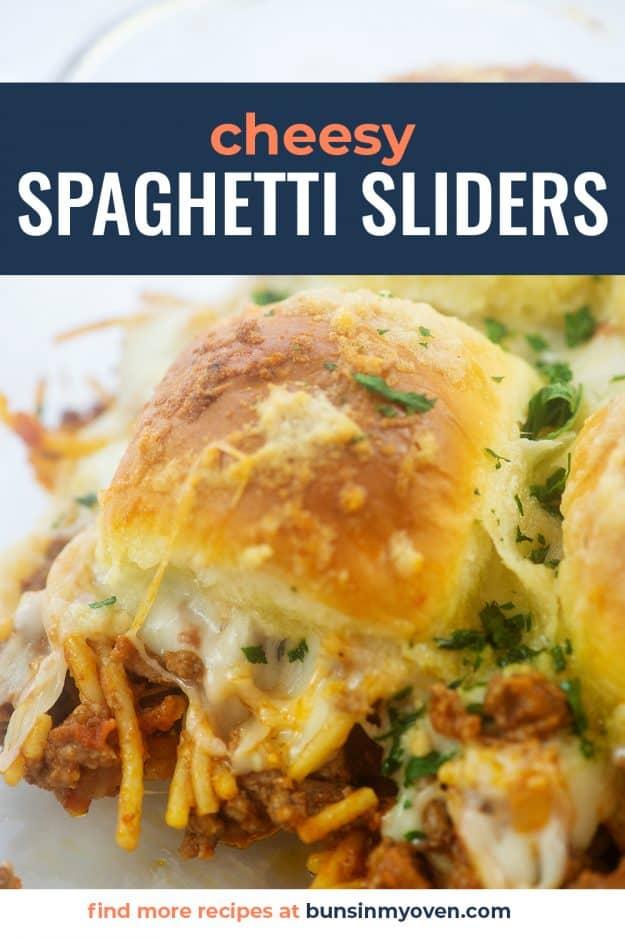 spaghetti sliders in glass baking dish.