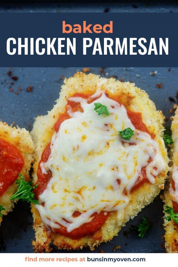 chicken parmesan recipe on baking sheet.