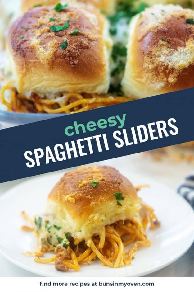 collage of spaghetti slider photos.