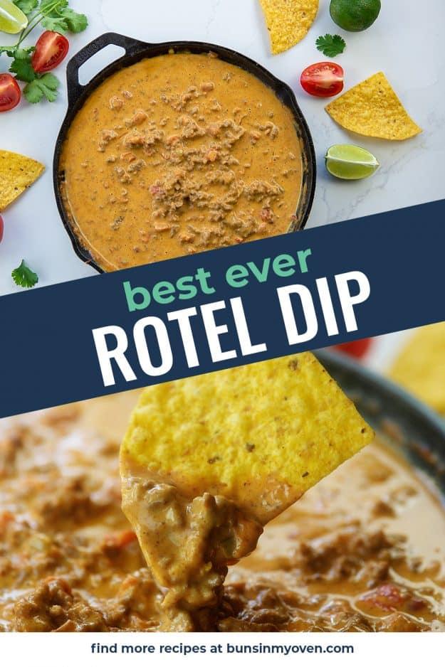 Rotel dip recipe photo collage.