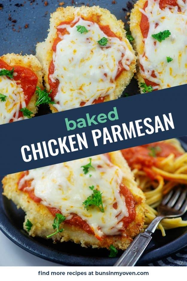 collage of chicken parmesan photos.