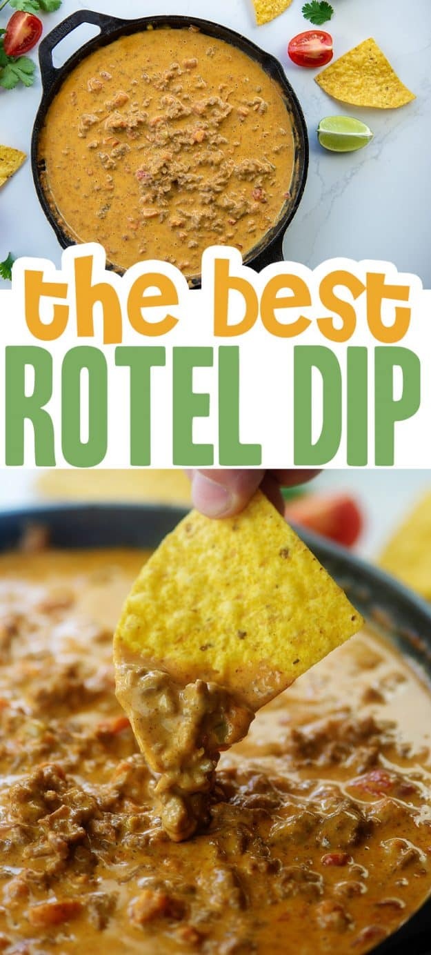 collage of rotel cheese dip images.