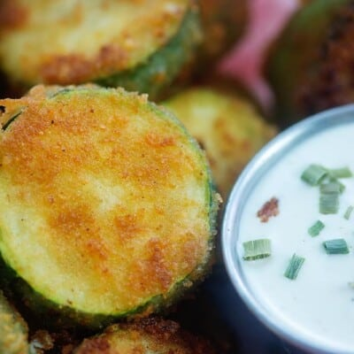 close up view of fried zucchini.