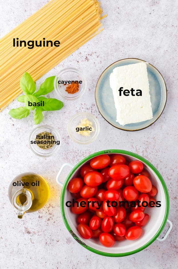 overhead view of ingredients for feta pasta recipe.