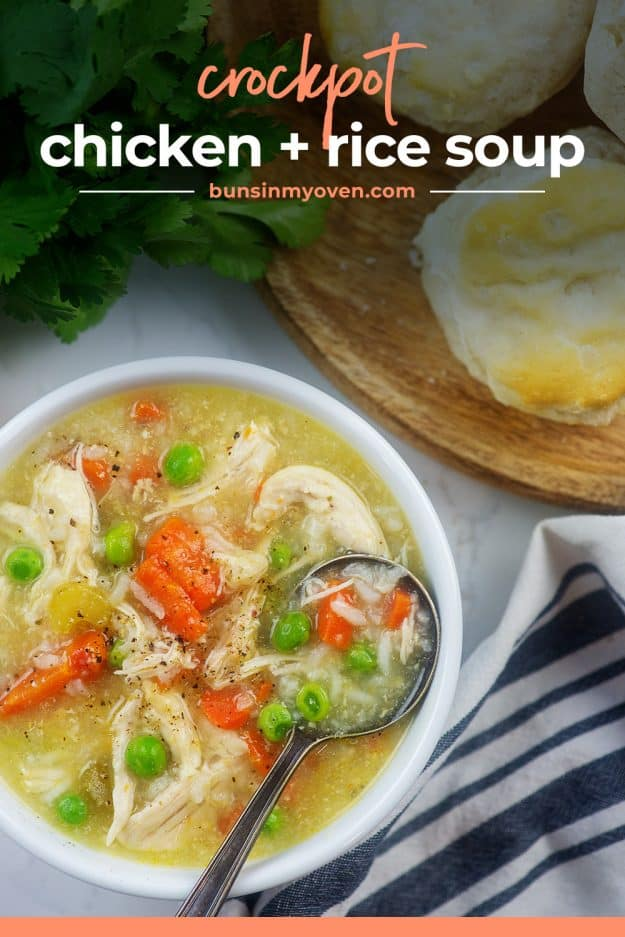 chicken and rice soup recipe in white bowl.