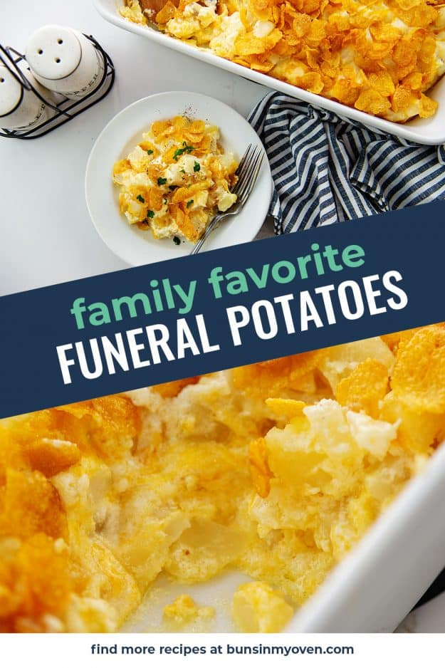 collage of funeral potatoes recipe.