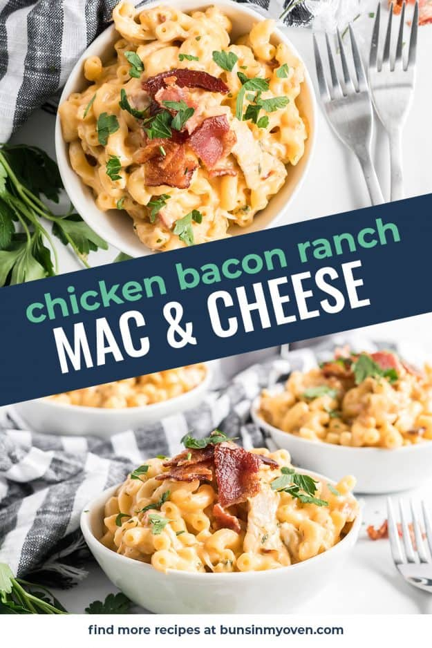 chicken bacon ranch mac and cheese image collage.