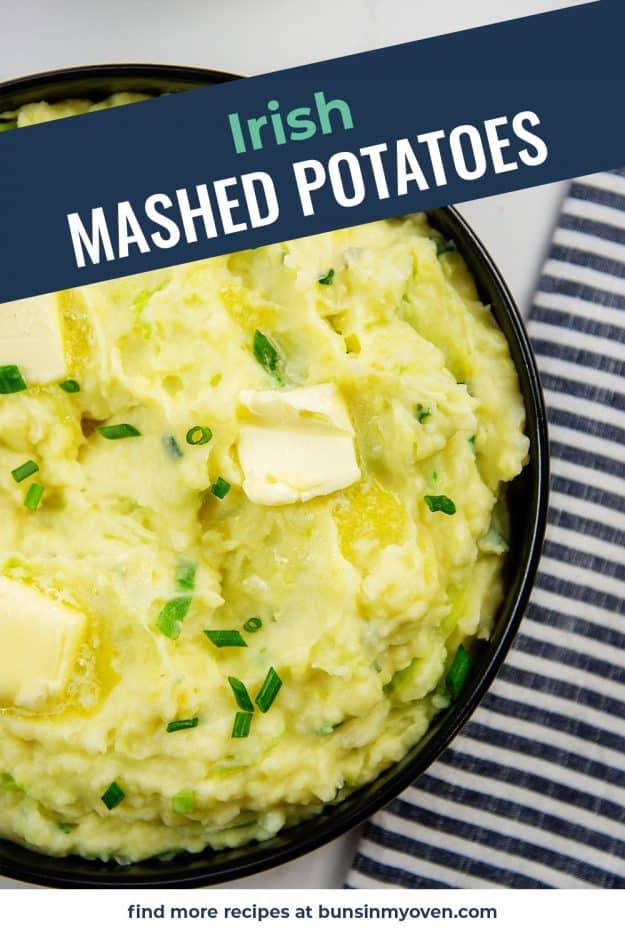 Irish mashed potatoes in bowl.