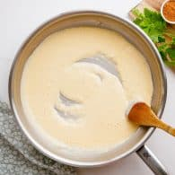 cream sauce in skillet.