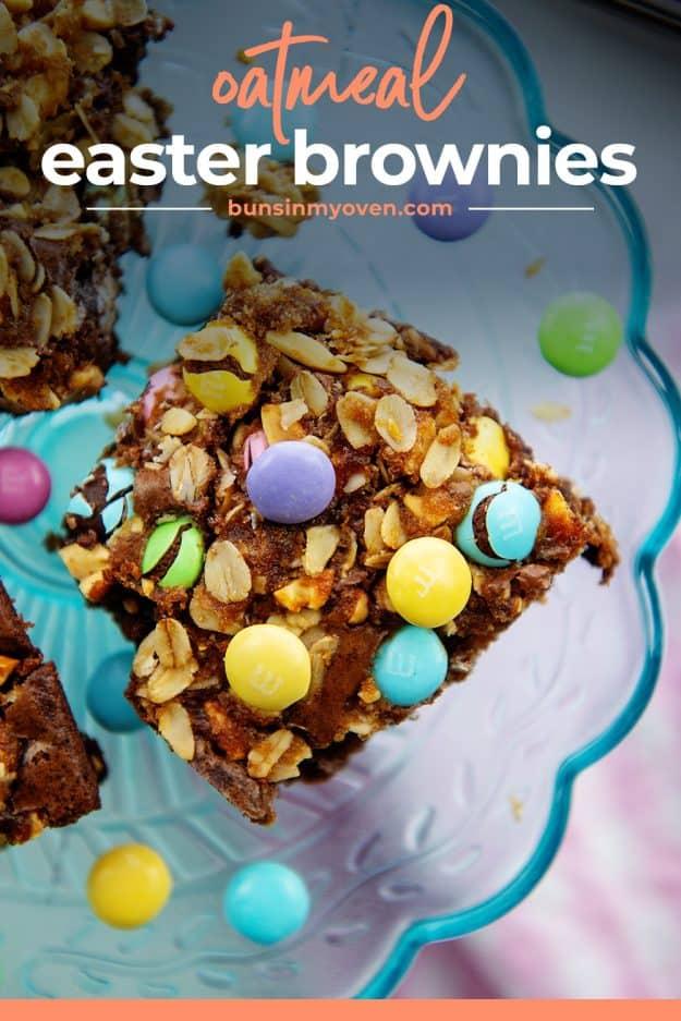 overhead view of Easter brownies