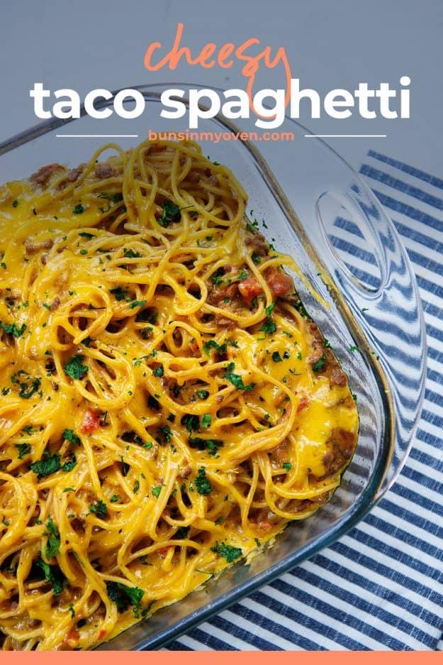 overhead view of spaghetti casserole in baking dish.