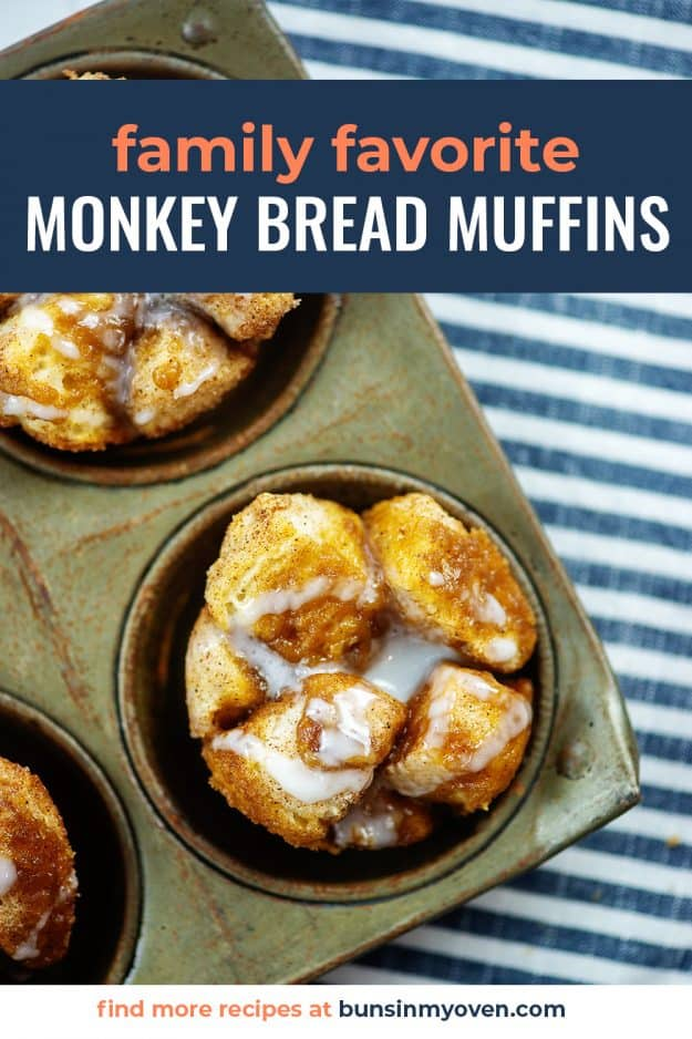 monkey bread muffins topped with glaze in vintage muffin tin.