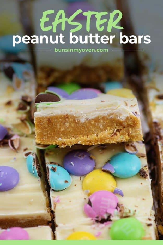 sliced peanut butter bars.