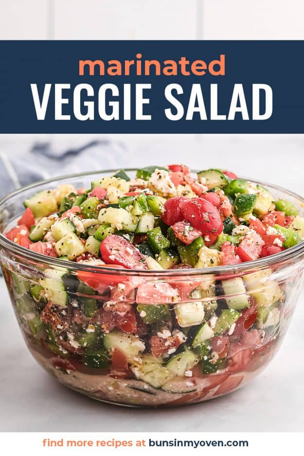 marinated veggie salad in glass bowl.