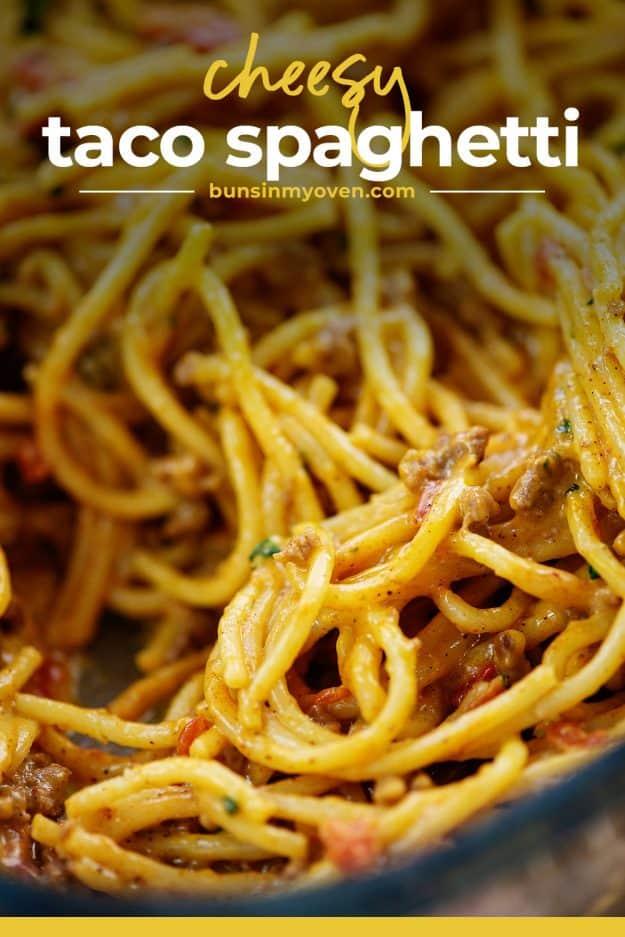 spaghetti in baking dish.