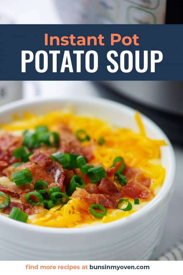 White bowl full of creamy potato soup next to an Instant Pot.
