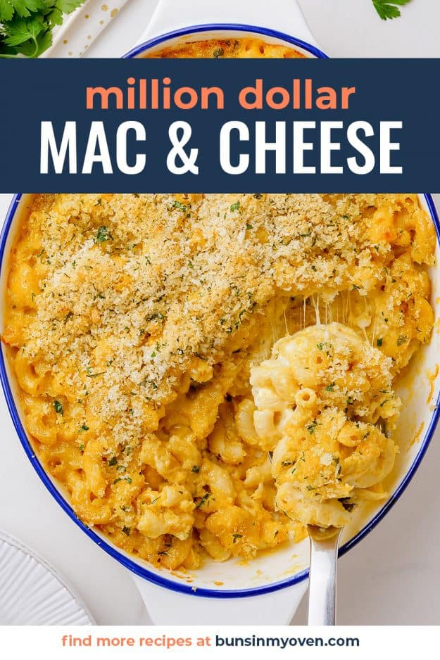 mac and cheese casserole in white baking dish.