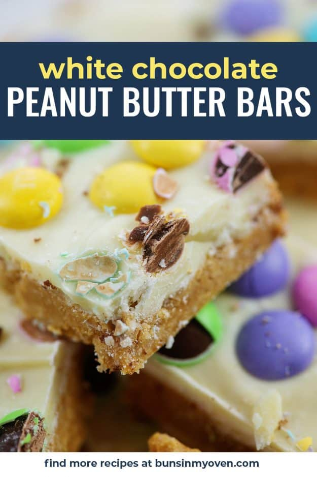 white chocolate peanut butter bars piled up.