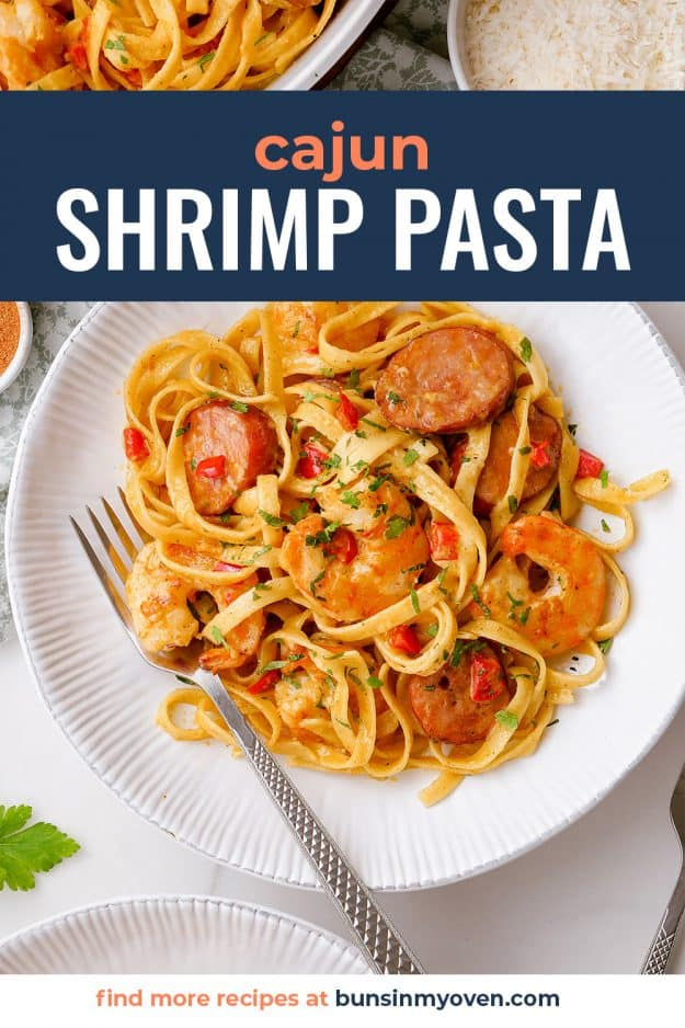 shrimp pasta recipe on white plate.