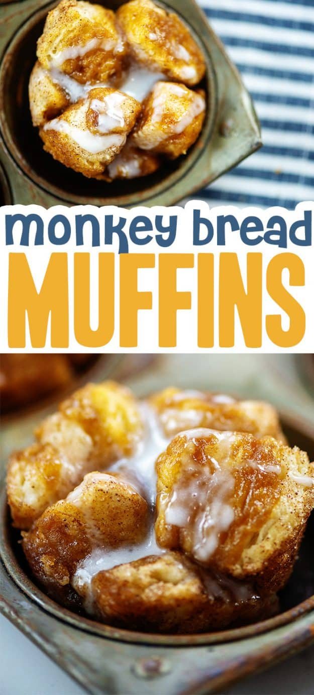 collage of monkey bread muffin images.