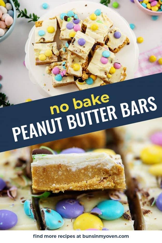 collage of no bake bar images.