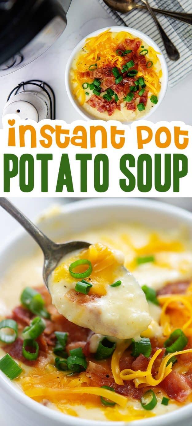 loaded potato soup photo collage.