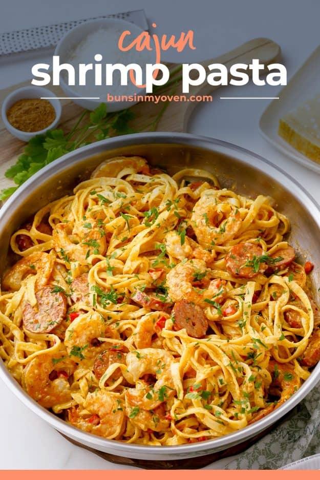 Cajun seafood pasta recipe in skillet.
