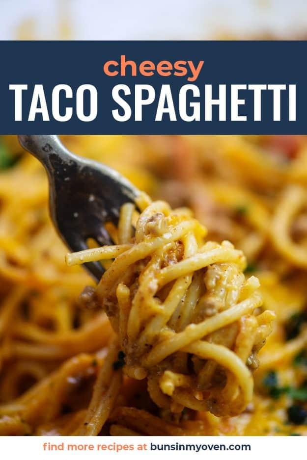 taco spaghetti on fork.