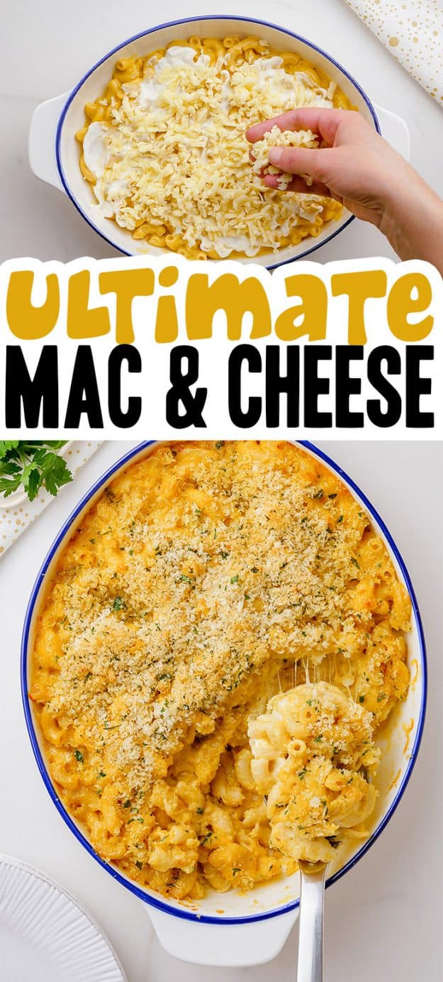 collage of macaroni and cheese casserole images.