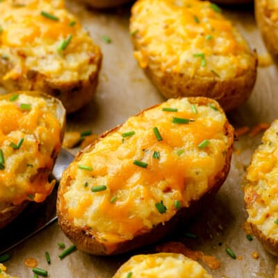 twice baked potatoes on baking sheet.