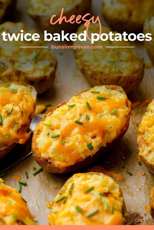 baked potatoes on baking sheet