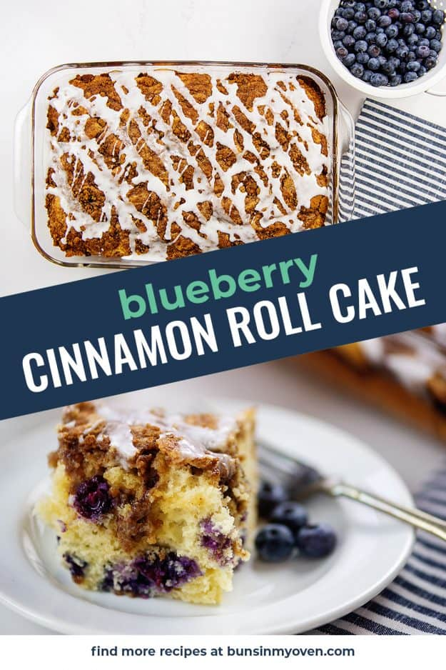collage of cinnamon roll cake images